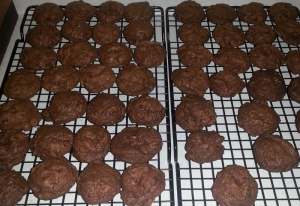 Chocolate Chocolate Chip Cookies ready to be eaten!