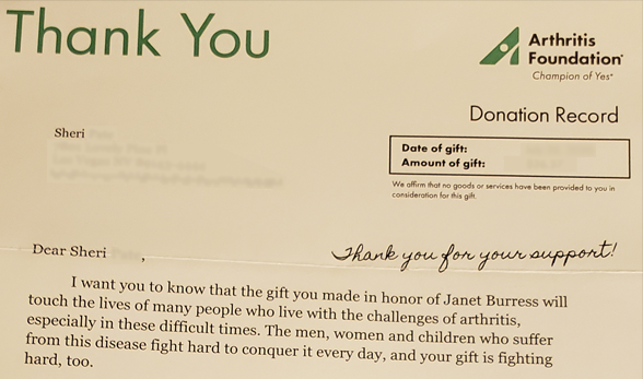 My thank you letter from the Arthritis Foundation